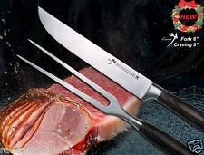 """X'mas Gift Japanese Design Carving Knife 8"""" & Full-Tang Fork 6"""" Kit BBQ Tool NEW"""