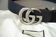 Unisex Gucci Belt Navy BLUE Leather GG Silver Buckle 90cm 30-32