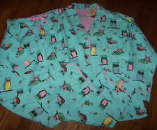 SALE! NWT PJ Salvage Blue Flannel Pajamas Shirt/Pants Set OWLS/BUTTERFLIES L