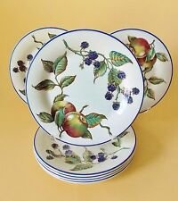 SEVEN PIER ONE ENGLISH MACINTOSH SALAD PLATES APPLES AND BLACKBERRIES MULTICOLOR