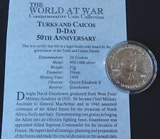 1994 SILVER PROOF TURKS & CAICOS ISLS 20 CROWNS COIN + COA 50th D-DAY EISENHOWER