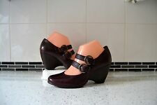 "STUNNING CLARKS ""BAMBOO PALM"" MULBERRY LEATHER MARY JANE SHOES UK 5 WIDTH D"