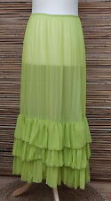 LAGENLOOK MAXI PETTICOAT UNDERSKIRT/DRESS*LIME*MADE IN ITALY WAIST UP TO 48""