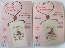 Lot 2 Country Wireworks Christmas Cross Stitch Kits Canadian Goose Rabbit USA