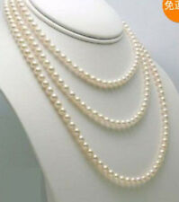 AA+ 6-7mm white freshwater Cultured pearl necklace 54""