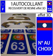 1 sticker plaque immatriculation auto 3D EN RESINE DRAPEAU MONDE 101 N°AU CHOIX