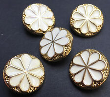 6 Vintage 1.3cm White + Gold  Buttons