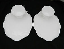 Indiana Glass Milk Glass Harvest Grape Snack Plates and Cups Patio Sets Two