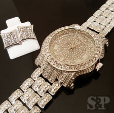 Hip Hop Iced out Silver Tone Techno Pave Simulated Diamond Watch & Earrings Set