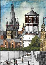 ORIGINAL AQUARELL - Schloßturm und Pegeluhr in Düsseldorf.