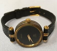 Gucci Ladies Quartz Watch Genuine Black Leather Band Running Swiss Made