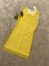 Speechless Women's Peter Pan Collar Shift Lace Spring Dress Sz Medium Yellow