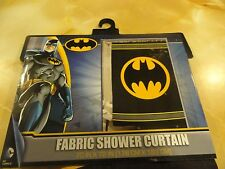 NWT Fabric SHOWER CURTAIN~Super Hero BATMAN Black Gold BAT symbol