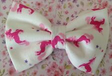 "NEW SMALL 3"" WHITE PINK UNICORN PRINT NOVELTY COTTON FABRIC CUTE BOW HAIR CLIP"