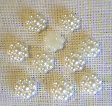LOT de 10 CABOCHON STRASS PERLE CENTRE FLEUR **10mm** scrapbooking carterie