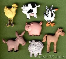 FUNNY FARM - Animal Pig Cow Donkey Sheep Horse Chicken Dress It Up Craft Buttons