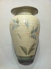 "Pottery Studio Art Hand Made Floral Vase Artist Signed Tury 8 3/4"" Tall"