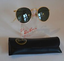 Vintage Original Ray Ban B&L USA Round Metal Gold W0603, neu!