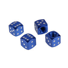 Metal Blue Dice Car Wheel Air Tyre Valve Dust Caps Covers  Wheel Rim Set of 4