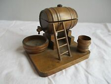 Vintage Handmade Carved Wood Pipe Smoking Companion Match Holder Ashtray