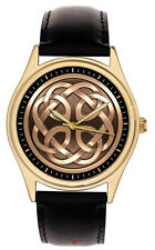 STUNNING SYMBOLIC CELTIC ARTS KNOTS CIRCLE SYMBOLIC  GOLD-WASHED BRASS WATCH