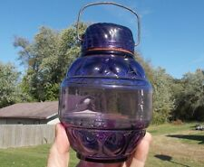 1890 ORIGINAL AMETHYST GLASS FANCY CANDY JAR W/SUN PATTERN LID & STEEL HANDLE