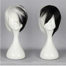 Women/Men Unisex Anime Cosplay Afro Short Straight Black and White Lolita Wigs