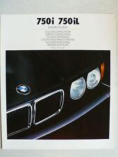 Prospekt BMW 7er E 32 - 750i, 750iL Farben / Poster, 2.1988, 6 Seiten, 34x28 cm