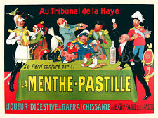 La Menthe Pastille, 1913 Vintage Liquor Advertising Canvas Print 28x21
