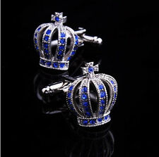 Blue Crystal Crown Silver Mens Wedding Party gift shirt cufflinks cuff links