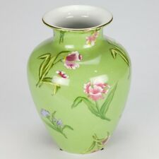 NEW Country vintage tulip hand painted Vase jar porcelain Green flowers 20cm 8""