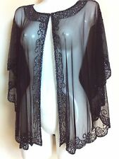NEW BLACK SEQUIN PONCHO CROP CAPE TOP WEDDING SILVER NIGHT SHRUG BOLERO COVER UP