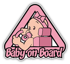 "Baby On Board Girl Driver Warning Sign Car Bumper Sticker Decal 5"" x 5"""