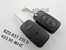 ****8Z0 837 231 D 433.92 MHZ, A4,A2 NEW AUDI 3 BUTTON FLIP KEY FOB