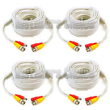 4 lot 75ft Security Camera Cable CCTV Video Power Wire BNC RCA White Cord DVR