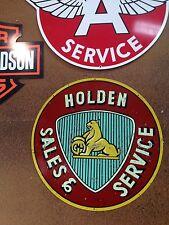 HOLDEN SALES & SERVIC 600MM DIAMETER TIN METAL SIGN PERFECT BAR MAN CAVE HOT ROD