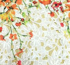 HIGH QUALITY WHITE FLORAL PRINTED EMBROIDERED LACE FABRIC sold by yard