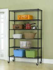 "New Black 82""x48""x18"" 6 Tier Layer Shelf Adjustable Wire Metal Shelving Rack 76"