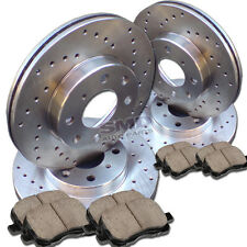 A0986 FITS 2003 2004 2005 CADILLAC DEVILLE CROSS DRILLED BRAKE ROTORS PADS F+R