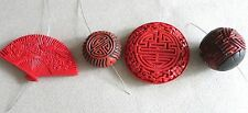 4pc RARE VINTAGE CHINESE CARVED CINNABAR LACQUER PENDANT (S) BEADS GOOD FORTUNE