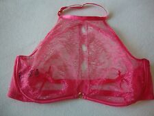 Victoria's Secret Very Sexy pink coral 36C unlined sheer lace halter bra charms
