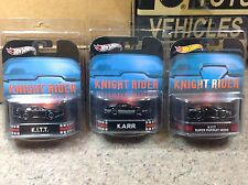 Hot Wheels Retro Knight Rider Lot of All 3 with display cases KITT, KARR, Super