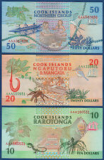 COOK ISLANDS 10 , 20 , 50 Dollars (1992)  UNC  P. 8 , 9 , 10