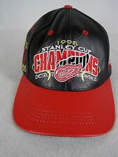 Detroit Redwings Leather Hat Cap 1998 Stanley Cup Champions Strapback NHL
