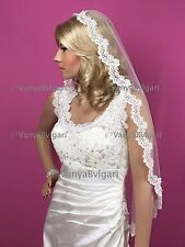 WEDDING VEIL MANTILLA WITH ALENCON LACE EDGE WITH BEADS CLASSIC STYLE IN IVORY