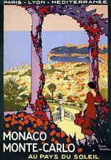 Monaco Monte Carlo - Au Pay Du Soleil Travel Vacation A3 Art Poster Print