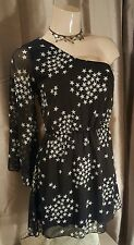 NEW LOOK BLACK ONE SHOULDER PARTY DRESS WITH WHITE STAR PRINT SIZE 12