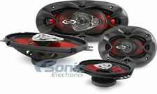 "4 Boss Speakers: 2 CH4330 4x10"" 3-Way & 2 CH4620 4x6"" 2-Way Chaos Car Speakers"