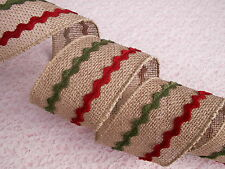 """Christmas Ribbon, Burlap with Red & Green Trim, 2 1/2"""" Wide, Wired Edge, 3 YARDS"""