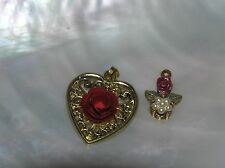 Vintage Lot of 2 Goldtone Heart with Metal Red Rose & Dainty Floral Pendants –